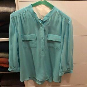 Parker, sky blue %100 silk blouse, size XS